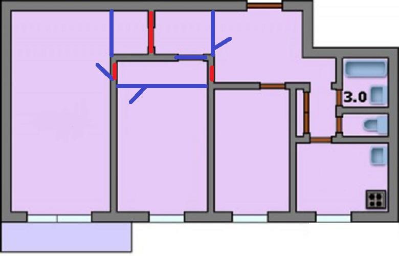 Дома серии i-515/9м - 3d планировка 3-комнатной квартиры вар.