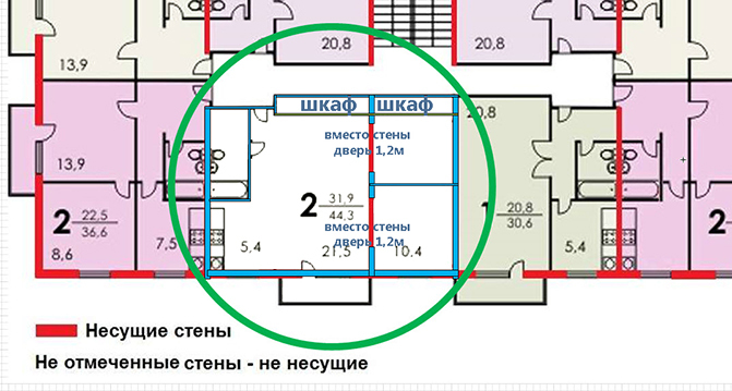 Дом серии ii-18-9. перенос и создание нового проема в несуще.